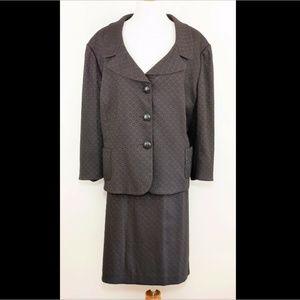 TAHARI Dark brown skirt suit 3/4 blazer & skirt